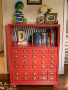 Faux Card Catalog Bookcase   The Undomestic Goddess